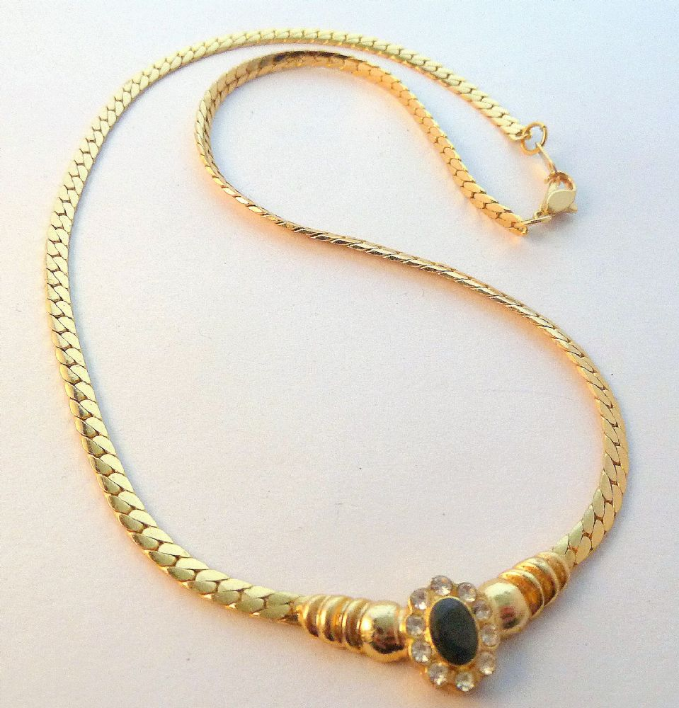 Harron Bone Necklace: Vintage Style 18K Gold Plated Sapphire Set Panel And